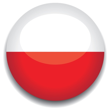 bandera de polonia: Bandera de Polonia en un botón Vectores