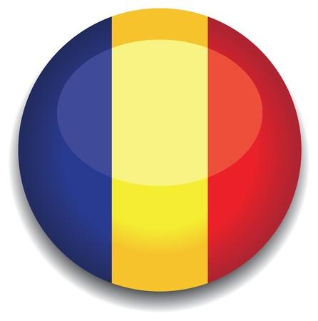 romania flag in a button Vector