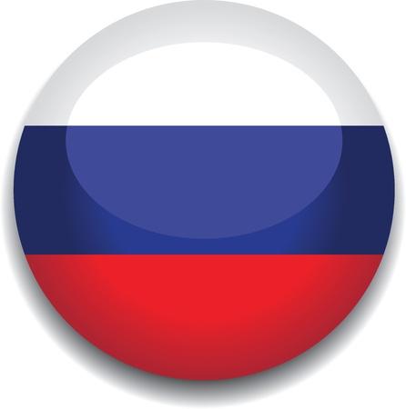 bandera rusia: Bandera de Rusia en un bot�n Vectores
