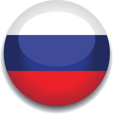 russia map: russia flag in a button Illustration