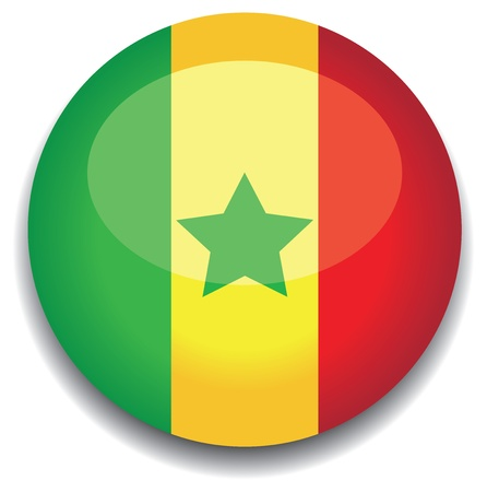 senegal flag in a button Vector