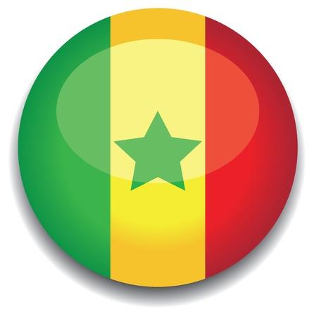 senegal flag in a button Illustration
