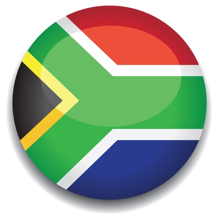 south african flag: south africa flag in a button