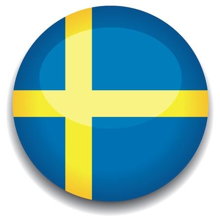 bandera de suecia: Bandera de Suecia en un bot�n