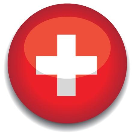 switzerland flag in a button Vector