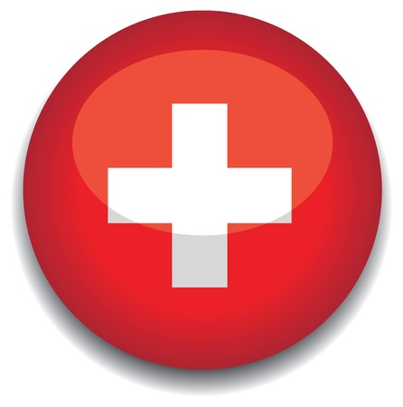 swiss: switzerland flag in a button Illustration