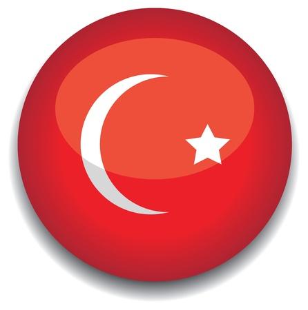 turkey flag in a button Vector