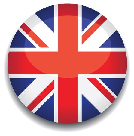 flagge: UK Flag in eine Schaltfl�che Illustration