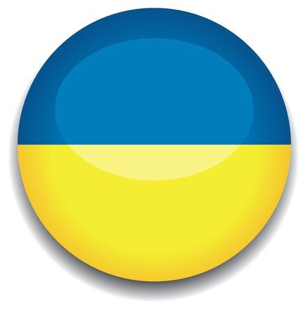 Bandera de Ucrania en un botón Ilustración de vector