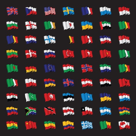 a bunch of world flags Stock Vector - 10335860