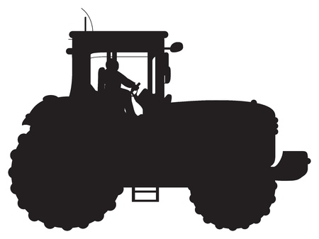 plough machine: tractor silhouette