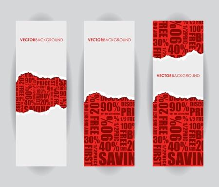 un signe de vente déchirés rouge Vecteurs