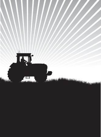 tractor in a field Stock Vector - 10491653