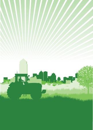 tractores: tractor en un campo frente a un paisaje urbano