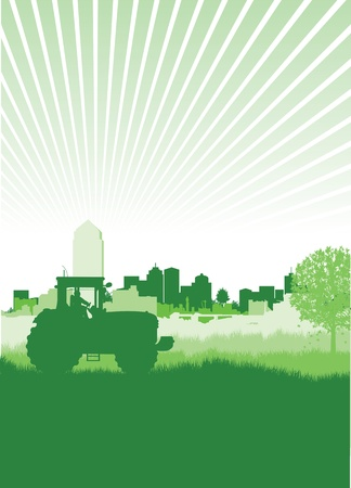 plow: tractor in a field in front of a cityscape