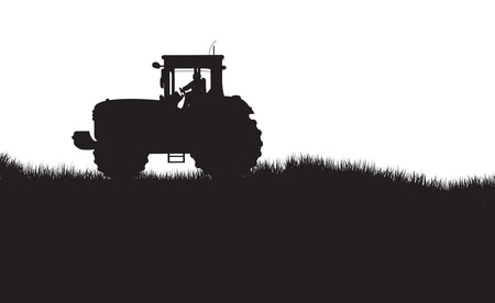 tractor in a field Stock Vector - 10491652