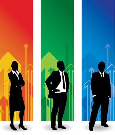 banner stand: business people arrow background Illustration