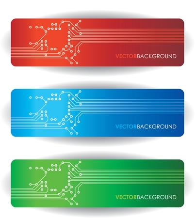 three circuit board banner Stock Vector - 10628917