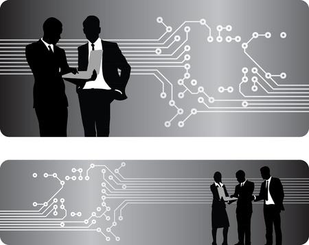 computer problems: gente de negocios en una placa de circuito