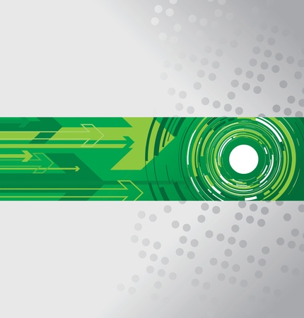 fragmented: green circle and arrow background