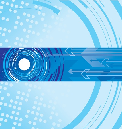fragmented: blue circle and arrow background Illustration