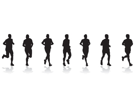 running silhouette: group of runners