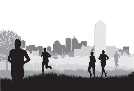 jogging in nature: runners Illustration