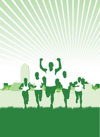 outdoor fitness: a group of runners Illustration
