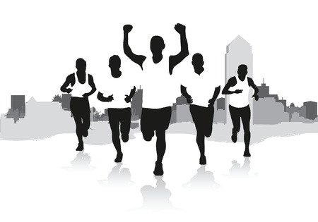 group fitness: a group of runners Illustration