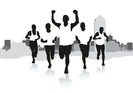 female jogger: un grupo de corredores