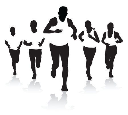 finishing line: a group of runners Illustration