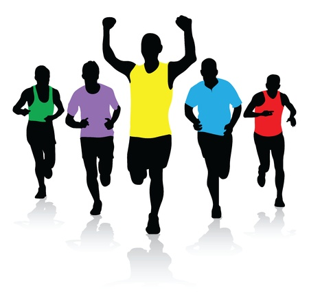 marathon runner: a group of runners Illustration