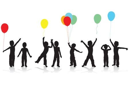 niños bailando: siluetas de niños jugando Vectores