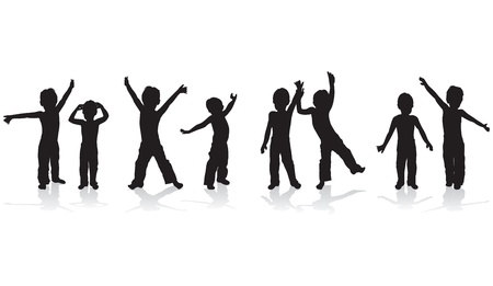 children playing silhouettes Vector