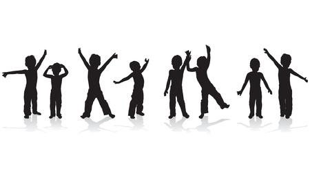 niños bailando: niños jugando siluetas Vectores