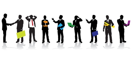 personas siluetas de negocios Ilustración de vector