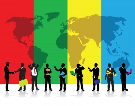 world trade: gente de negocios sobre un fondo mundial Vectores