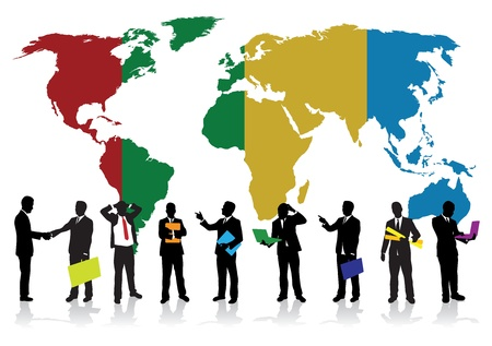 business people on a world background Vector