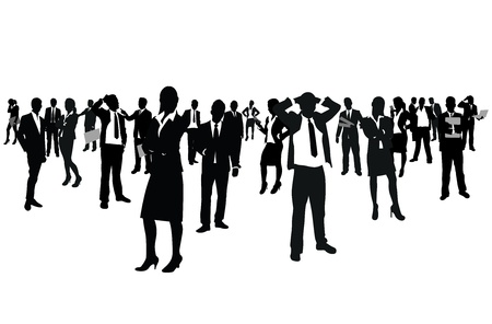 people standing: business people group Illustration