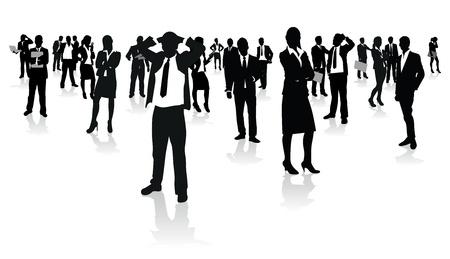 woman business suit: uomini d'affari del gruppo Vettoriali