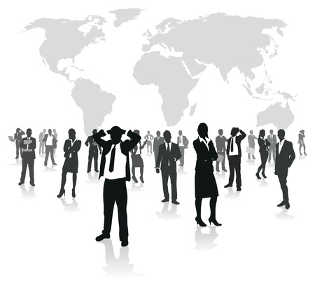 international investments: business people group on a world background