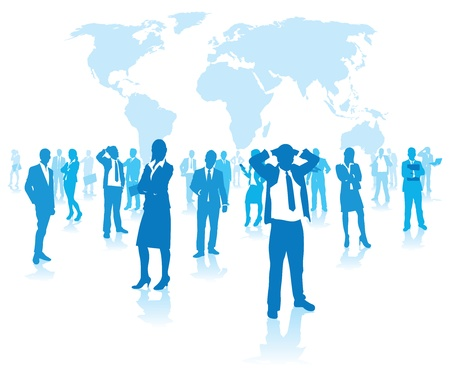 business people group on a world background Vector