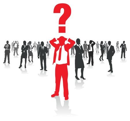 persona confundida: hombres de negocios del grupo y un hombre confuso