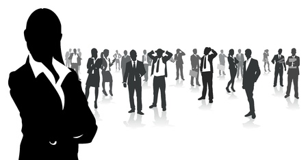 silouettes: business people group Illustration