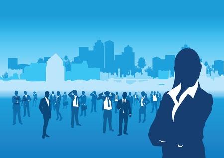 silueta masculina: gente de negocios sobre un fondo paisaje urbano