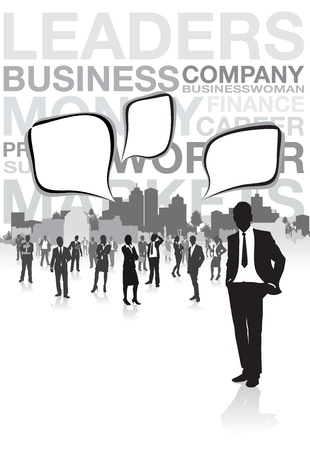 black lady talking: business people speech bubbles Illustration