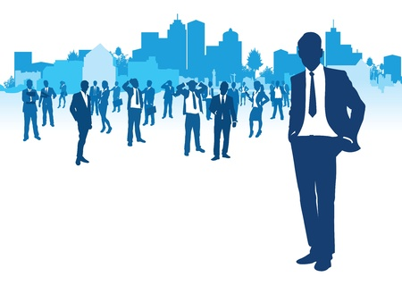 business people on a cityscape background Stock Vector - 11121093