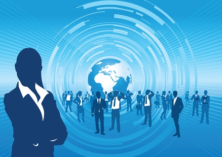 business people with a wold background Vector
