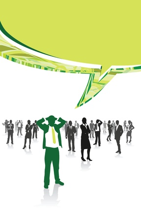 corporate building: business people speech bubbles Illustration