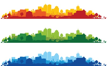 set of three cityscapes Vector